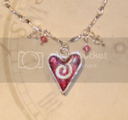 art clay silver heart jewelry charm with friendly plastic