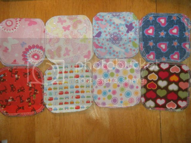 2-ply Flannel Doll Wipes - 5&quot;x5&quot; - Assorted Prints