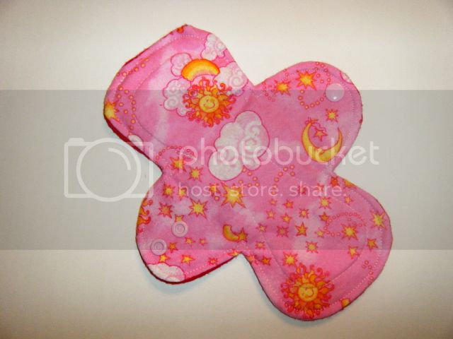 8&quot; Cloth Pantyliner Pad - Pink Celestial Flannel