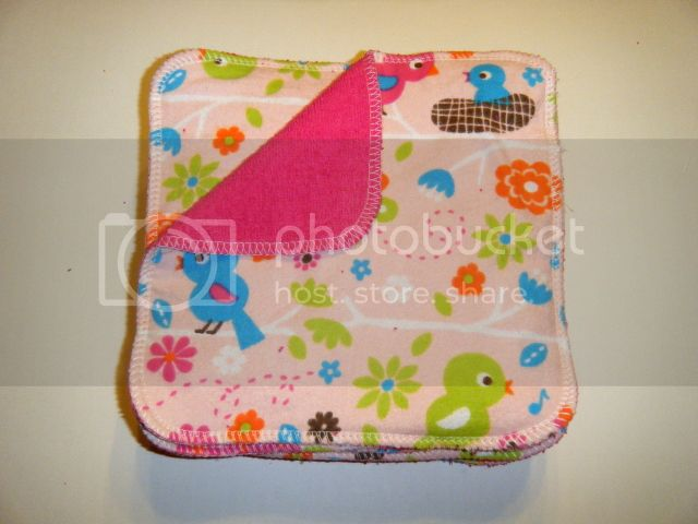 2-ply Flannel/Terry Wipes - 8&quot;x8&quot; - Birds - Set of 12