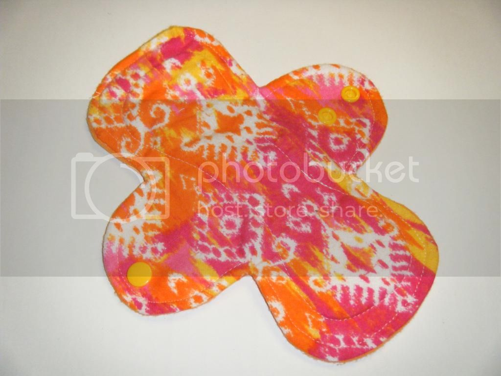 8&quot; Cloth Pantyliner Pad - Pink/Orange Ikat  Flannel