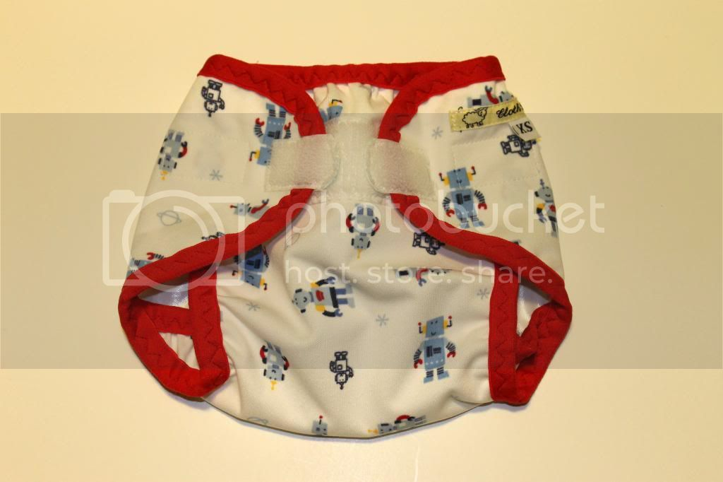 Instock PUL Cloth Diaper Cover - Blue Robots - Size XS/Newborn