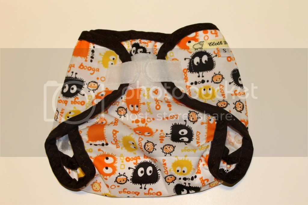 Instock PUL Cloth Diaper Cover - Orange/Candy Corn Ooga Booga - Size Small