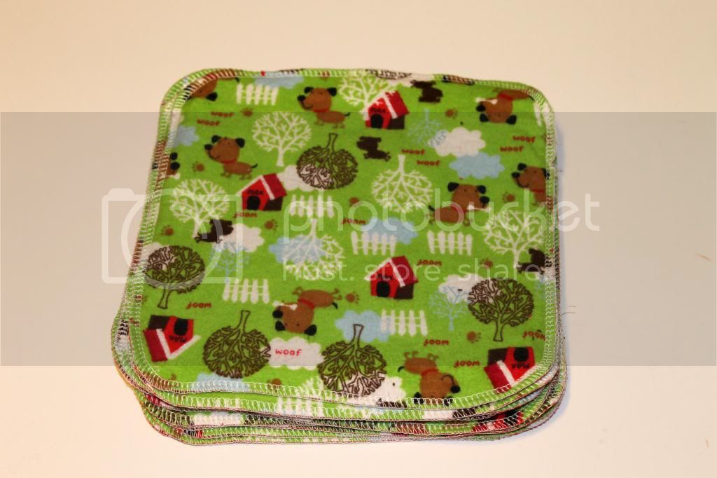 30% OFF 2-ply Flannel Wipes - 8&quot;x8&quot; - Woof - Set of 11