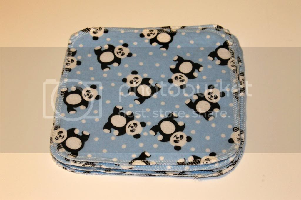 30% OFF 2-ply Flannel Wipes - 8&quot;x8&quot; - Pandas - Set of 6