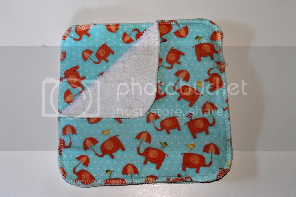 2-ply Flannel/Terry Wipes - 8&quot;x8&quot; - Elephants with Umbrellas- Set of 3