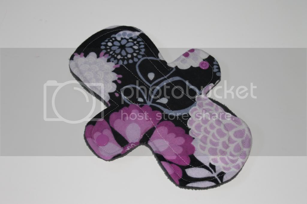 9&quot; Regular Cloth Pad - Black/Purple Floral Flannel and Fleece Back