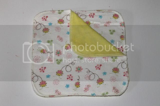 2-ply Flannel/OBV Wipes - 8&quot;x8&quot; - Ladybugs - Set of 4