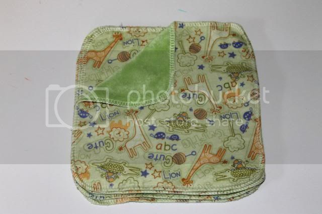 2-ply Flannel/OBV Wipes - 8&quot;x8&quot; - Lion, Giraffe, Alligator, Turtle - Set of 5