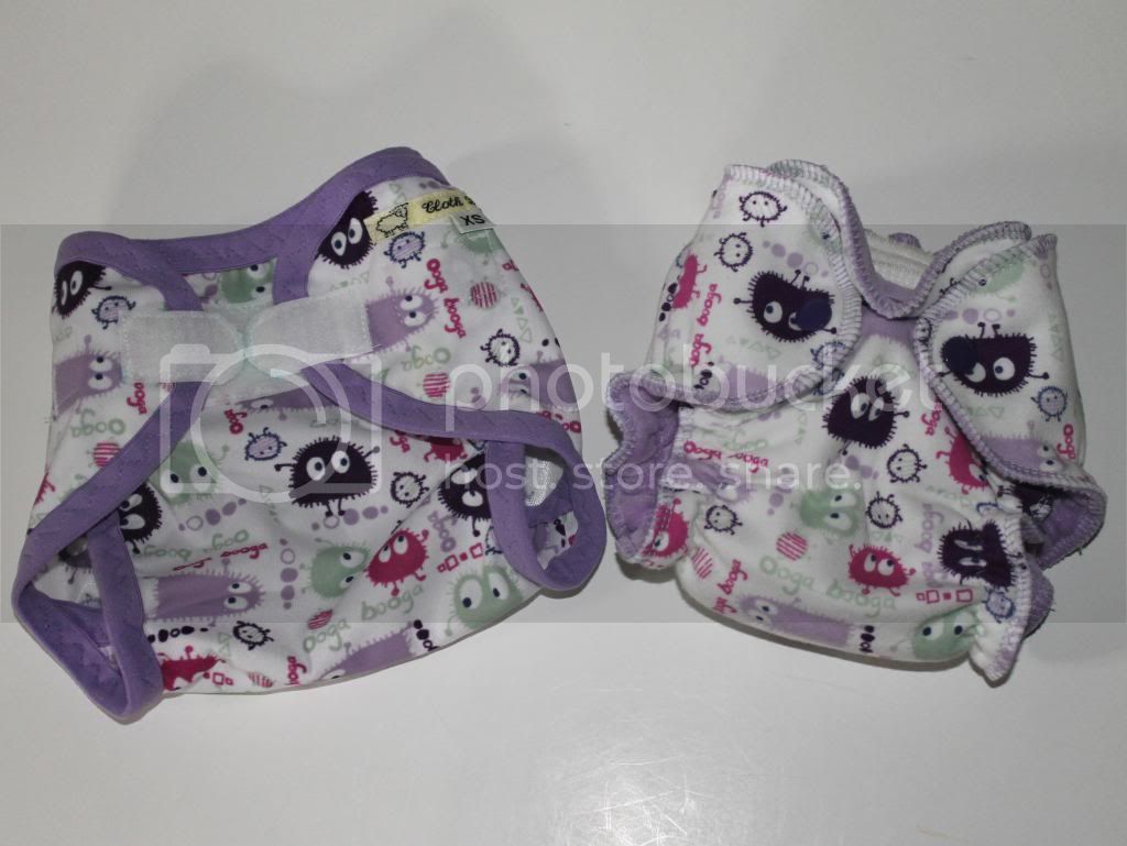 Newborn Fitted Diaper and XS PUL Diaper Cover Bundle - Purple Ooga Booga