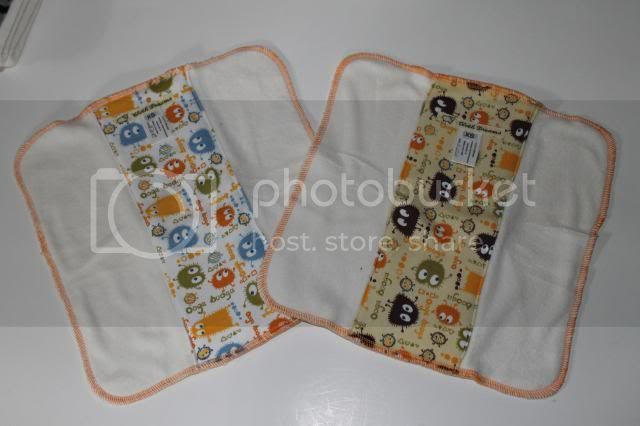 Set of 2 Cloth Diaper Bamboo Prefold - Blue/Orange &amp; Orange/Brown Ooga Booga - Size XS