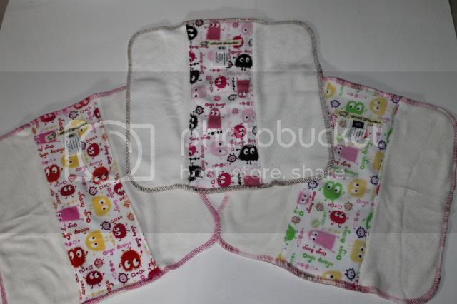 Set of 3 Cloth Diaper Bamboo Prefold - Pink/Brown, Pink/Orange &amp; Pink/Lime Ooga Booga  - Size XS
