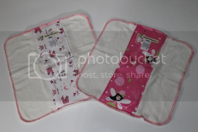 Set of 2 Cloth Diaper Bamboo Prefold - Princess Castles &amp; Fairy Catmother - Size XS