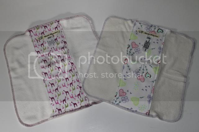 Set of 2 Cloth Diaper Bamboo Prefold - Pink Giraffes &amp; Heartflowers  - Size XS