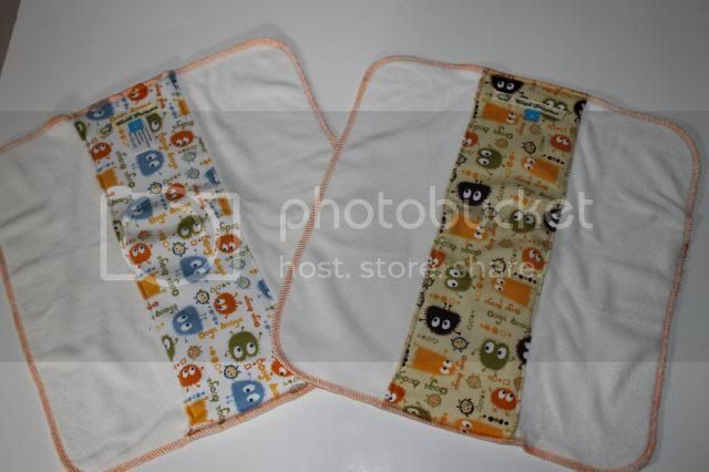 2 Pack Cloth Diaper Bamboo Prefold - Orange/Brown Ooga Booga - Size S