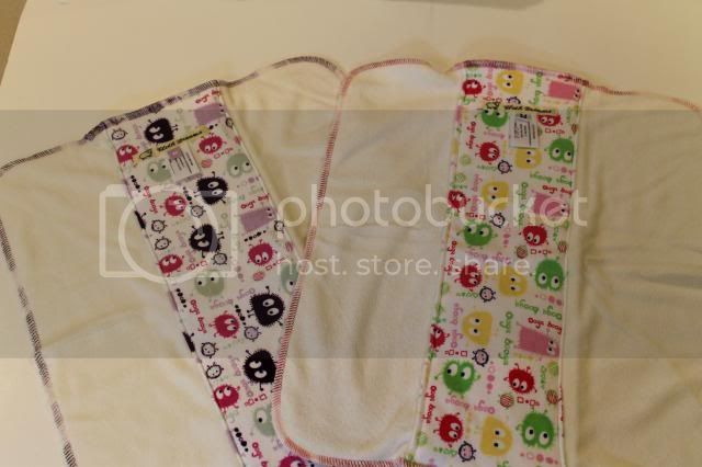 Set of 2 Cloth Diaper Bamboo Prefold - Lavender and Pink/Lime Ooga Booga  - Size M