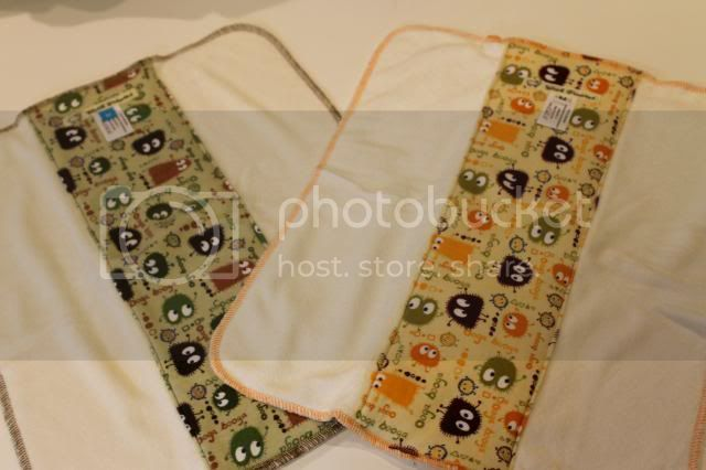 2 Pack of Cloth Diaper Bamboo Prefold - Orange/Brown and Camo Ooga Booga - Size M