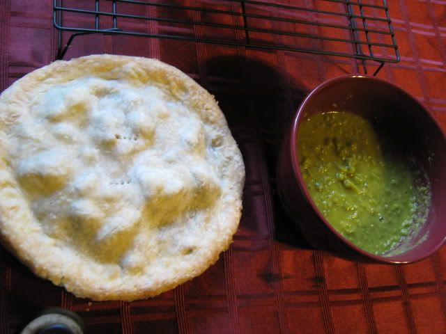 Meat &amp; potato pie and mushy peas